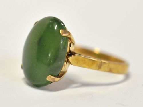 Jade-Nephrite Ring | Period: c1960s | Make: Handmade | Material: 14ct. Gold and Jade- Nephrite