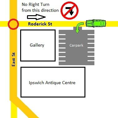 Mini-map showing Ipswich Antique Centre Car Park