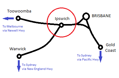 Ipswich, Brisbane, Gold Coast, Toowoomba and Warwick Mini-Map