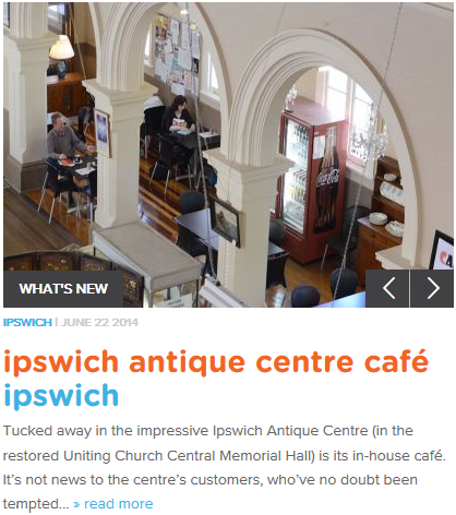 Front Page of Must Do Brisbane featuring the Ipswich Antique Centre Cafe
